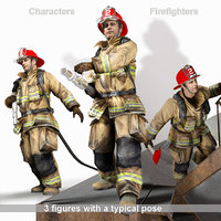 3D Firefighter characters of NY