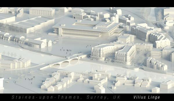 3D model staines thames surrey uk