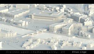 3D model staines thames surrey uk