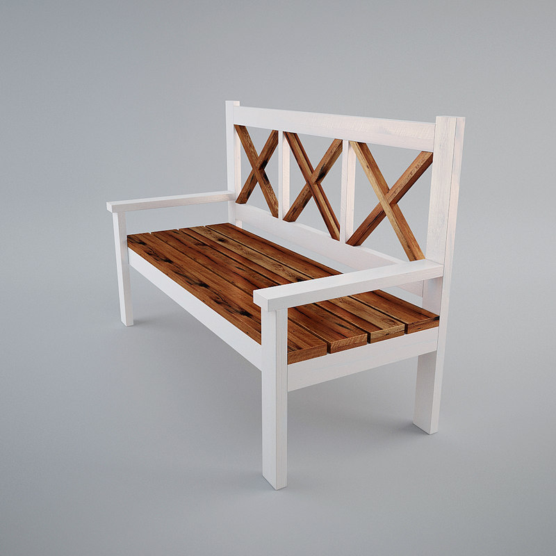 3D large porch bench model