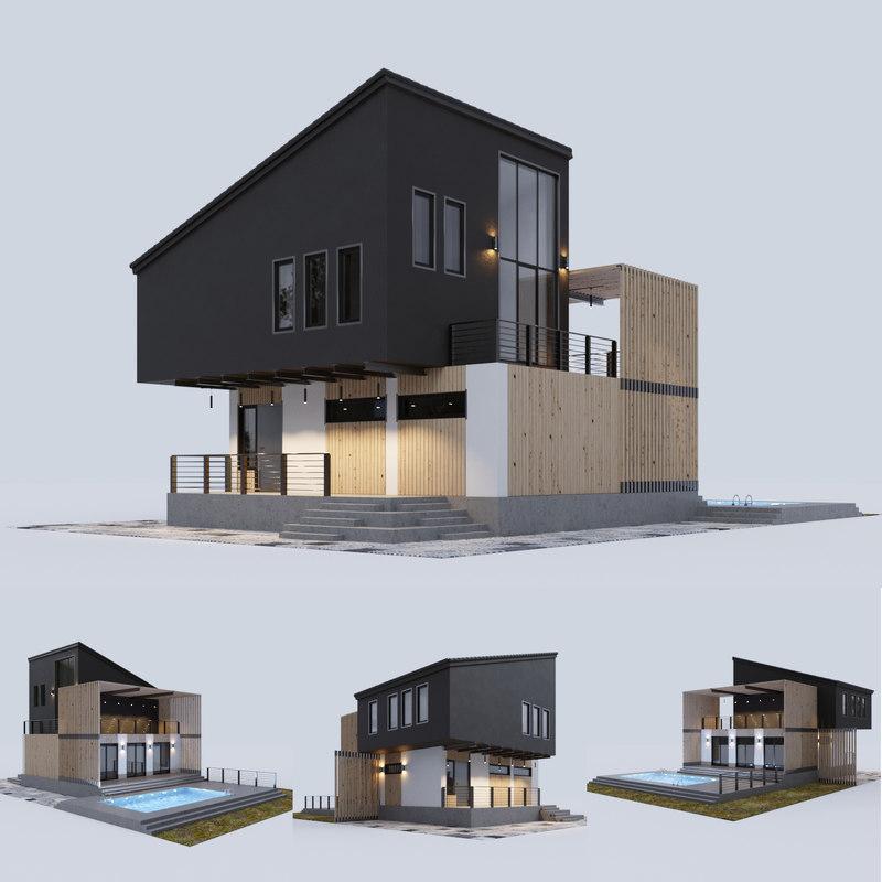 modern residential house swimming pool model