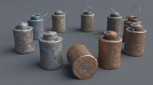 3D model aluminum 3 liters cans