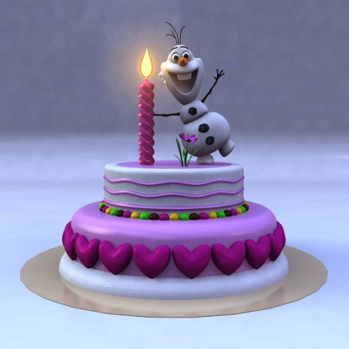 3D Birthday Cake Frozen Snow Man