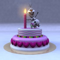 3D birthday cake frozen snow man