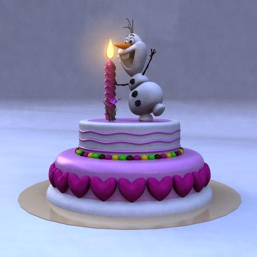 Peachy 3D Birthday Cake Frozen Snow Man Turbosquid 1345267 Birthday Cards Printable Nowaargucafe Filternl