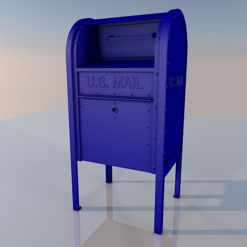 blue mailbox 3D model