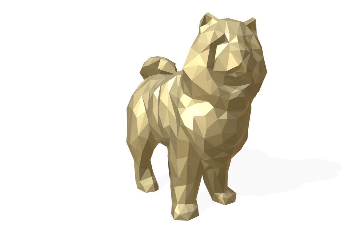 printed chowchow dog figure model