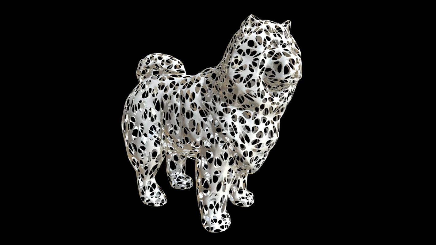 printed chowchow dog figure 3D model