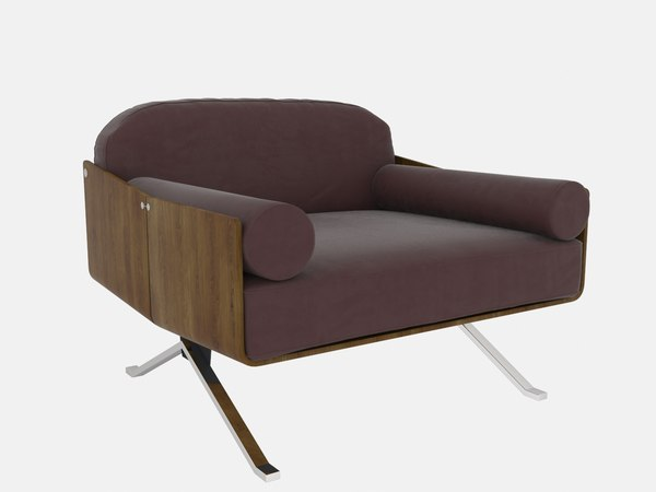 3D rosewood veneer lounge chair model