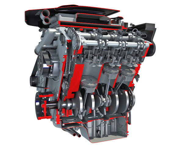 3D sectioned v6 engine animation
