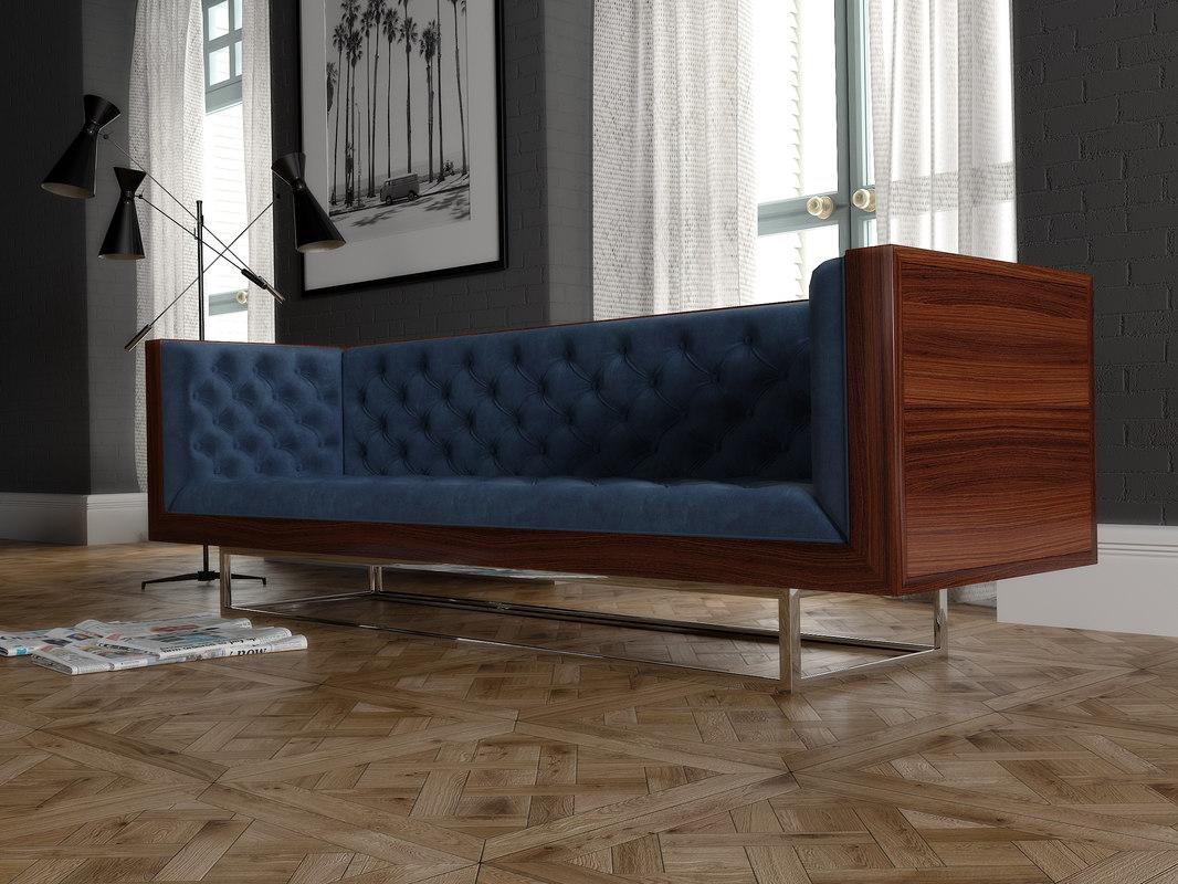3D velvet sofa milo baughman