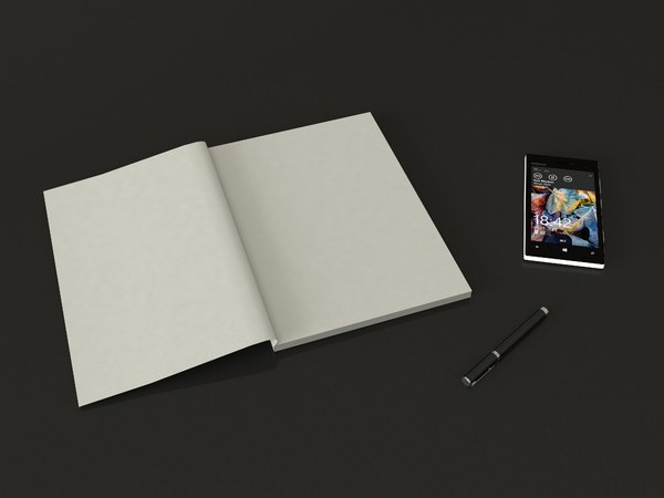 phone magazine pen table 3D