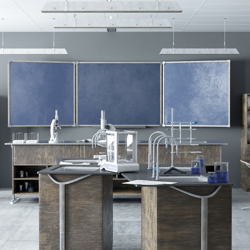 3D chemistry classroom desk laboratory model