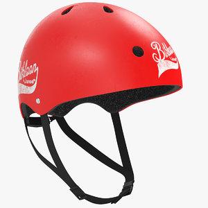 3D bike helmet red
