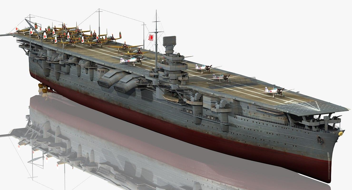 3D japanese aircraft carrier shokaku model
