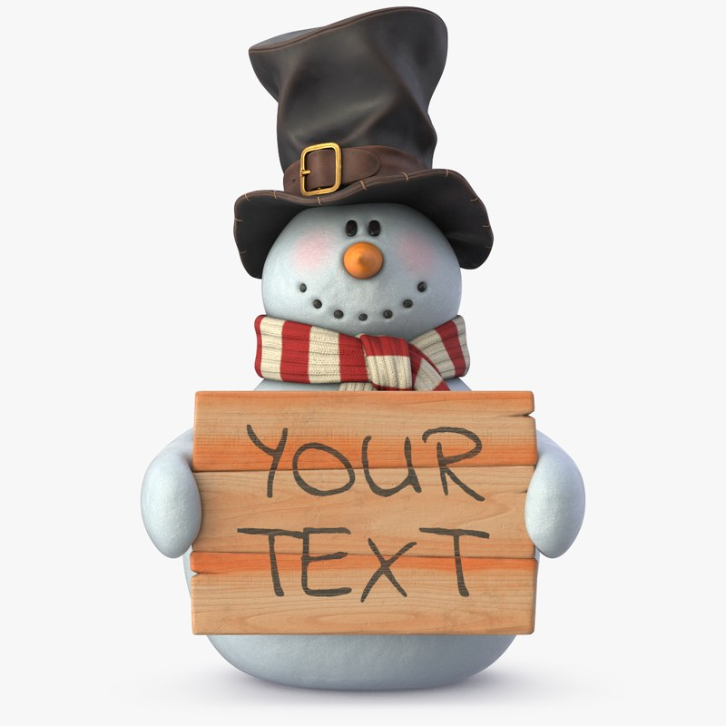 3D model realistic snowman holiday christmas