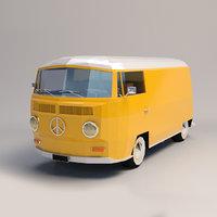 Low-Poly Cartoon VW Transporter Bus