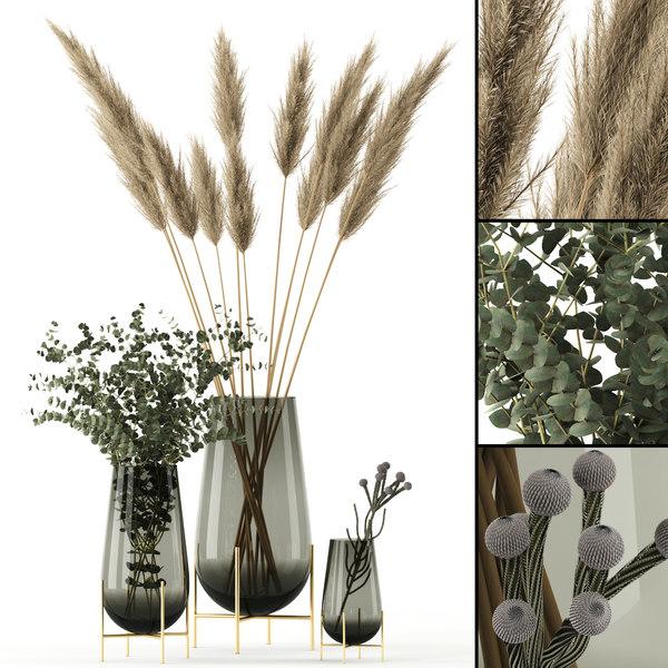 3D realistic plants echasse vases