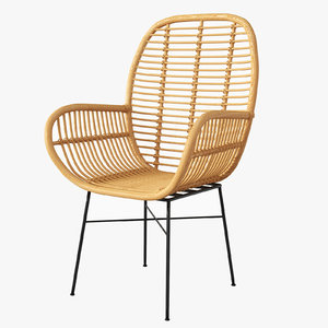 lily rattan arm chair 3D model