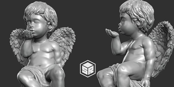 3D print ready sculpture angel