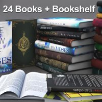 Books + Opened Books + Bookshelf