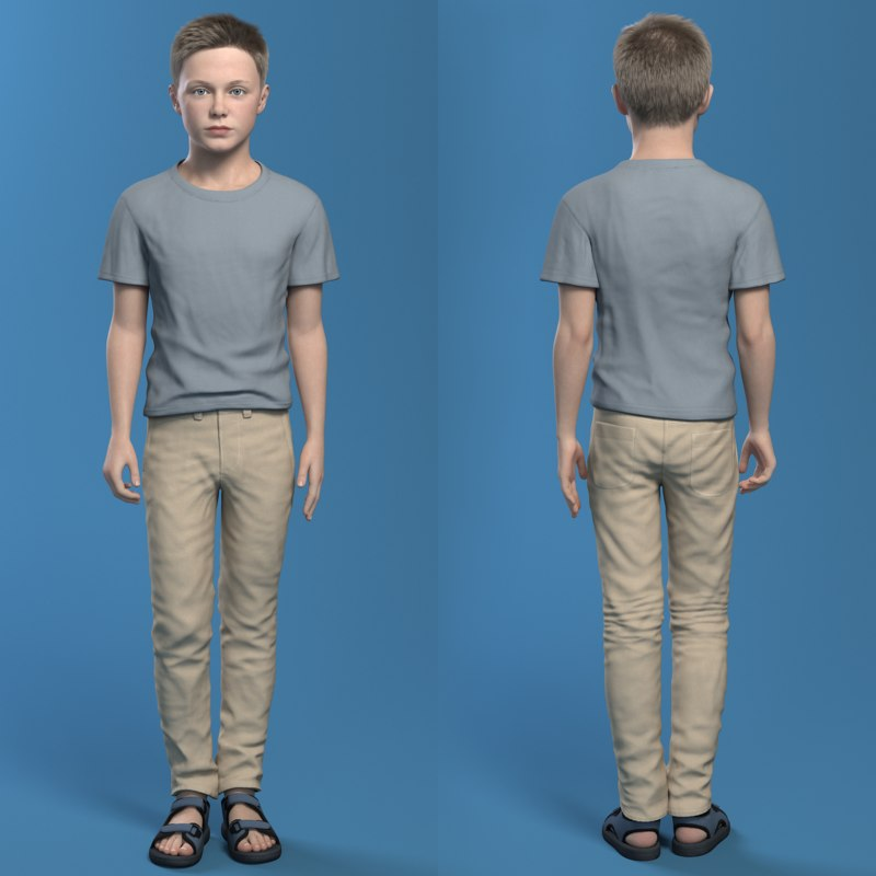 boy teen full body with clothes rigged 3d model