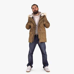 3d model casual man hands pockets