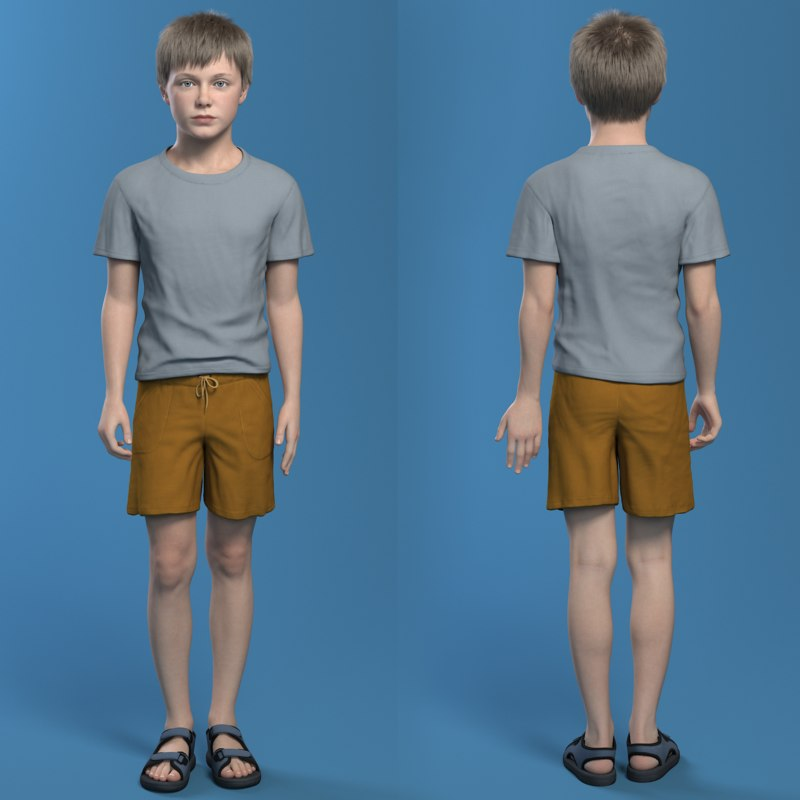 boy with shorts rigged 3d model