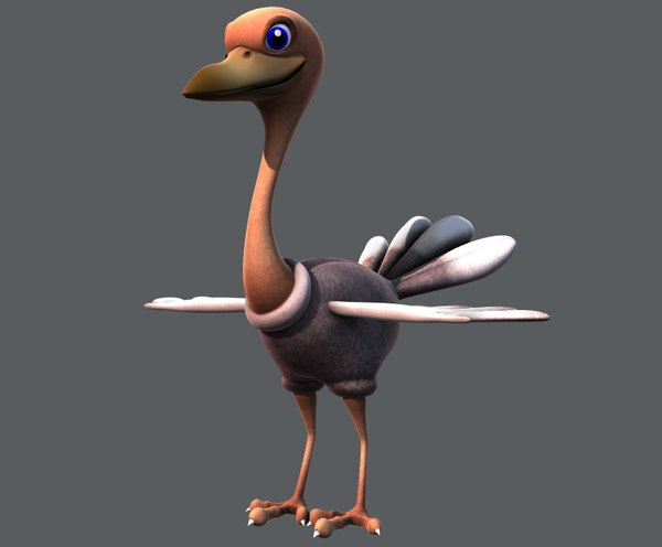 ostrich v01 cartoon animal 3D model