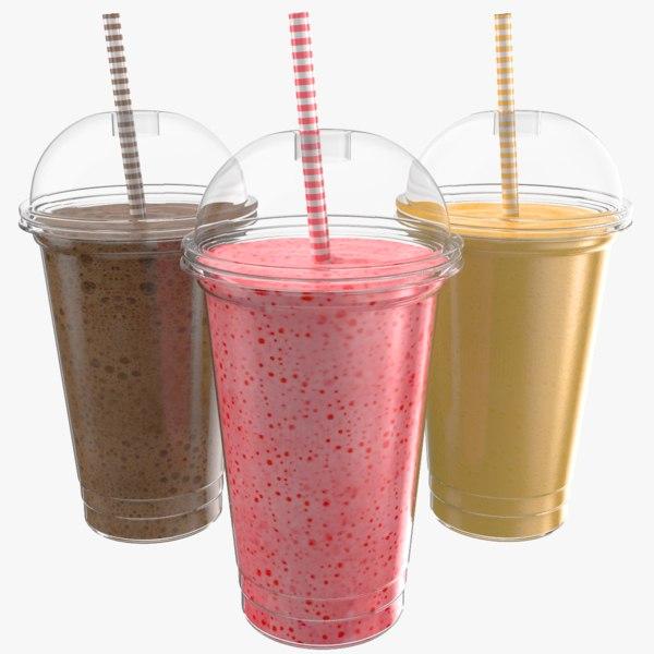 3D milk shake flavors model