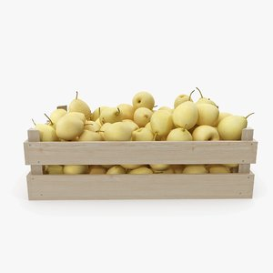 3D pear chinese wooden crate model
