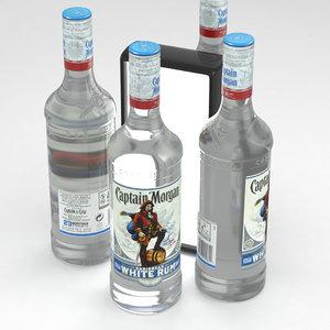 3D model rum alcohol bottle
