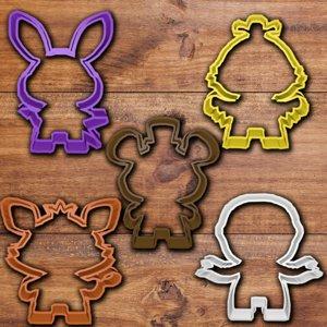 3D fnaf cookie cutter set