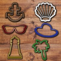 Beach objects cookie cutter set