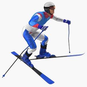 3D model male skier generic skis