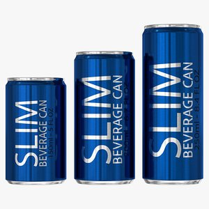 slim beverage cans 3D