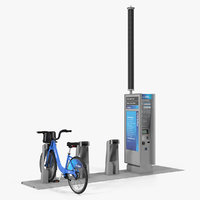Citi Bike Pay Station with Bicycle 3D Model