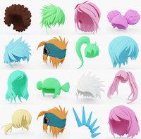 anime hair 3D model