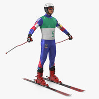 downhill male skier skiing 3D model