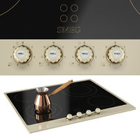 Smeg Cortina P764 60cm Ceramic Hob cream anthracite brass