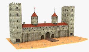 3D model fantasy tower gate
