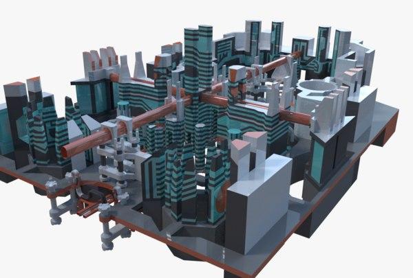 sci-fi city block 3D model