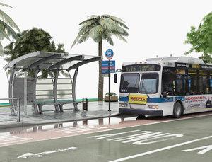 3D bus stop road