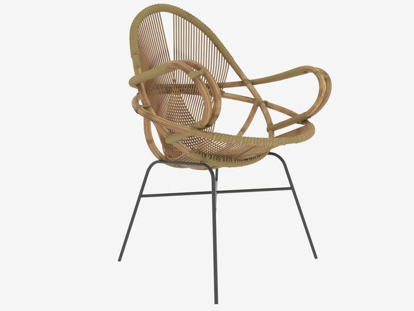 3D diamond rattan chair wend model