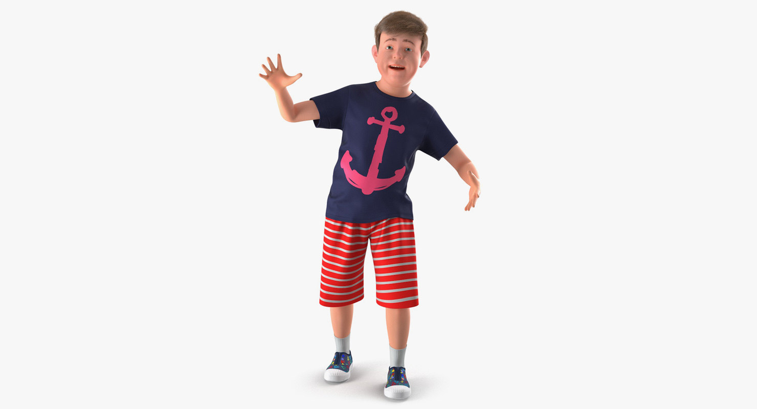 Boy in active pose with t-shirt, shorts and sneakers 3d model rigged