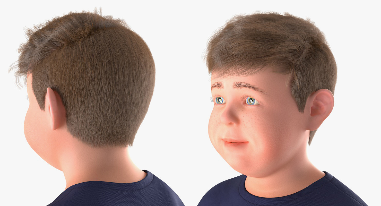 closeup boys face 3d model rigged