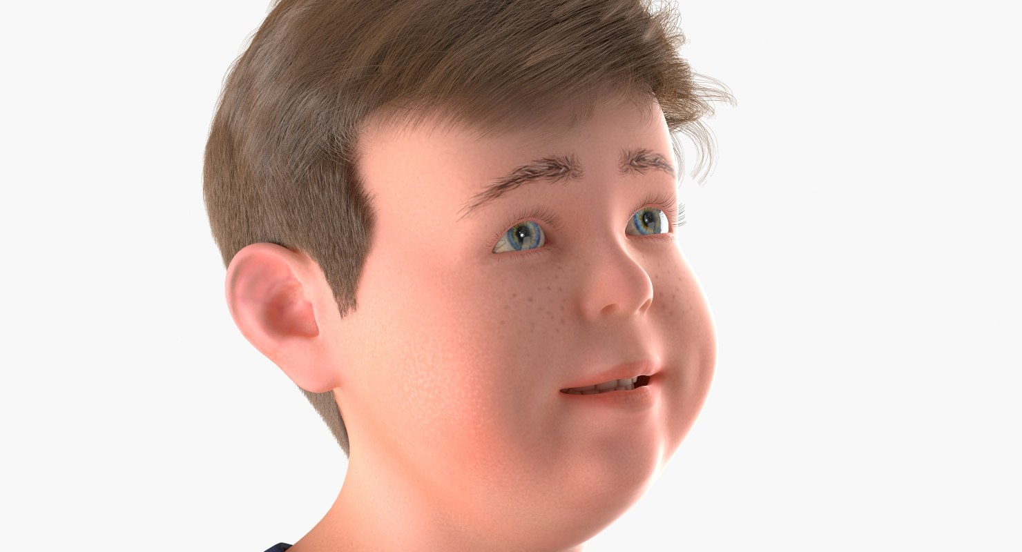 young teen portrait 3d model rigged
