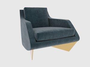 3D whalebone armchair william t
