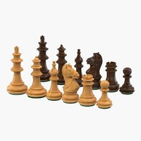3D model wooden chess pieces figures