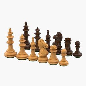 3D model wooden chess pieces figures